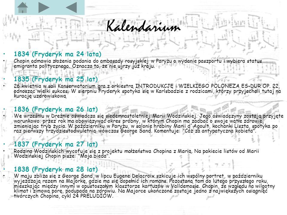 Kalendarium 1834 (Fryderyk ma 24 lata) 1835 (Fryderyk ma 25 lat)