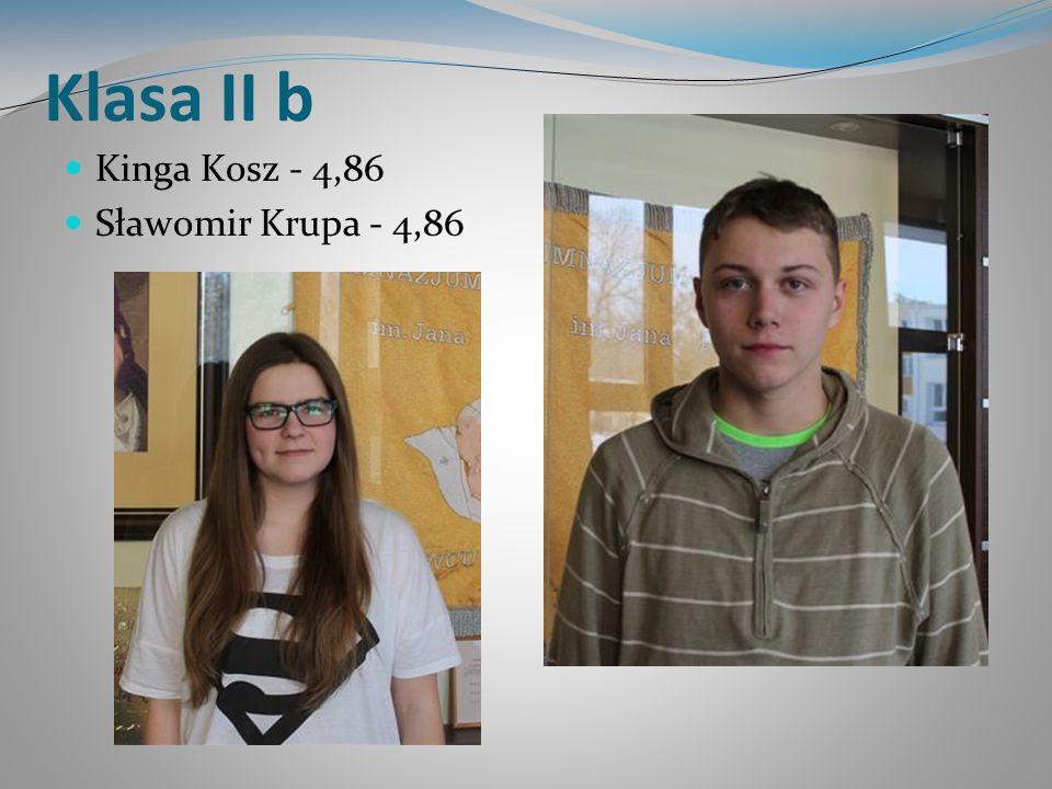 Klasa II b Kinga Kosz - 4,86 Sławomir Krupa - 4,86