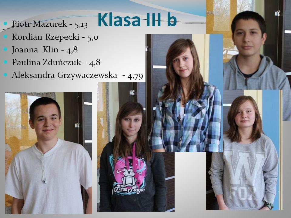 Klasa III b Piotr Mazurek - 5,13 Kordian Rzepecki - 5,0