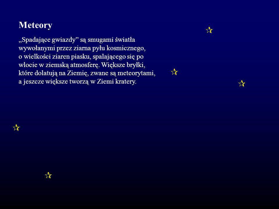 """Meteory      """"Spadające gwiazdy są smugami światła"""