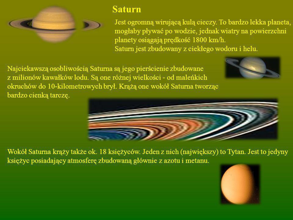 Saturn Jest ogromną wirującą kulą cieczy. To bardzo lekka planeta,