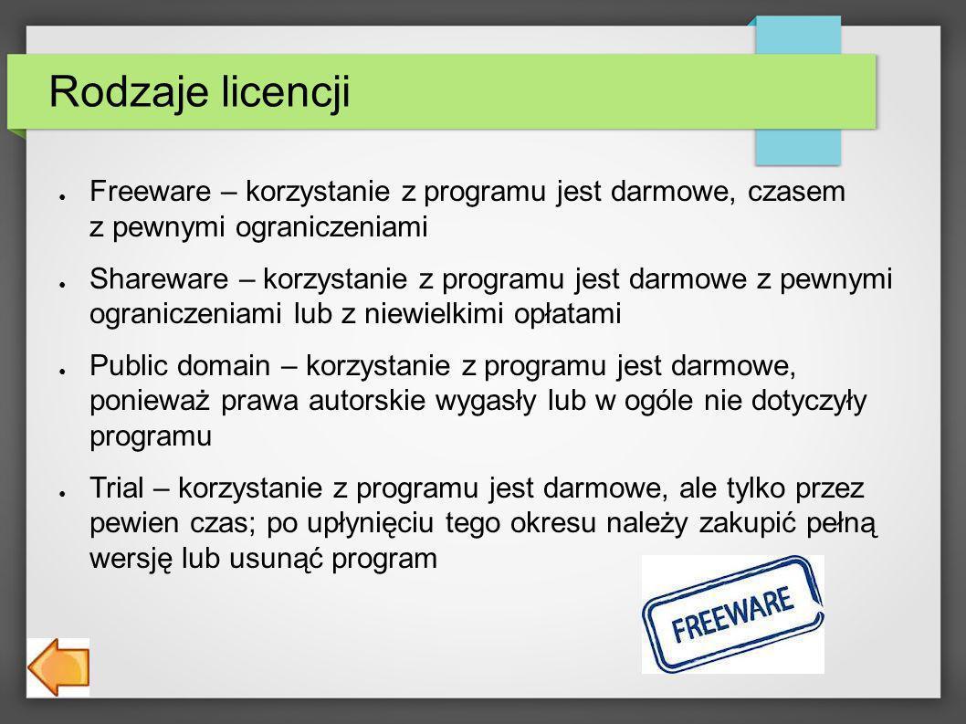 Rodzaje licencji Freeware – korzystanie z programu jest darmowe, czasem z pewnymi ograniczeniami.