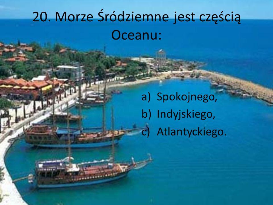 20. Morze Śródziemne jest częścią Oceanu: