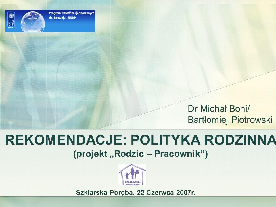 """REKOMENDACJE: POLITYKA RODZINNA (projekt """"Rodzic – Pracownik )"""