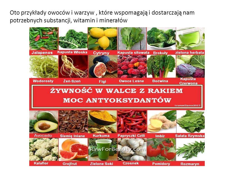 Oto przykłady owoców i warzyw , które wspomagają i dostarczają nam potrzebnych substancji, witamin i minerałów