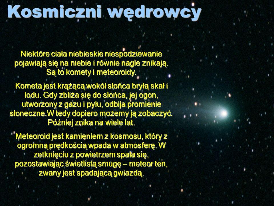 Kosmiczni wędrowcy Niektóre ciała niebieskie niespodziewanie pojawiają się na niebie i równie nagle znikają. Są to komety i meteoroidy.