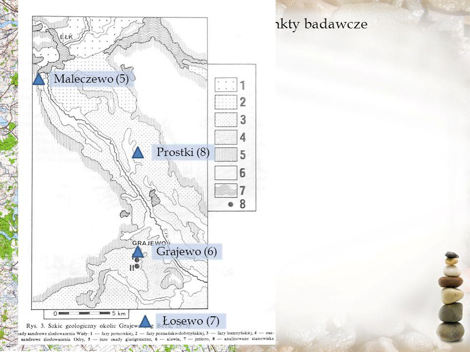 Punkty badawcze Maleczewo (5) Prostki (8) Grajewo (6) Łosewo (7)