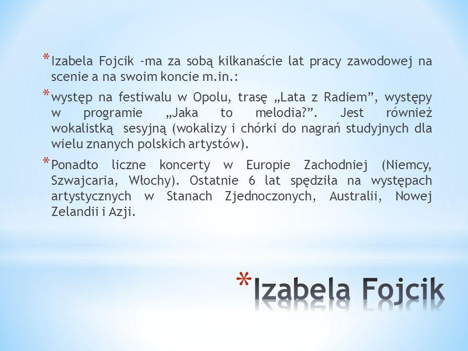 Izabela Fojcik -ma za sobą kilkanaście lat pracy zawodowej na scenie a na swoim koncie m.in.: