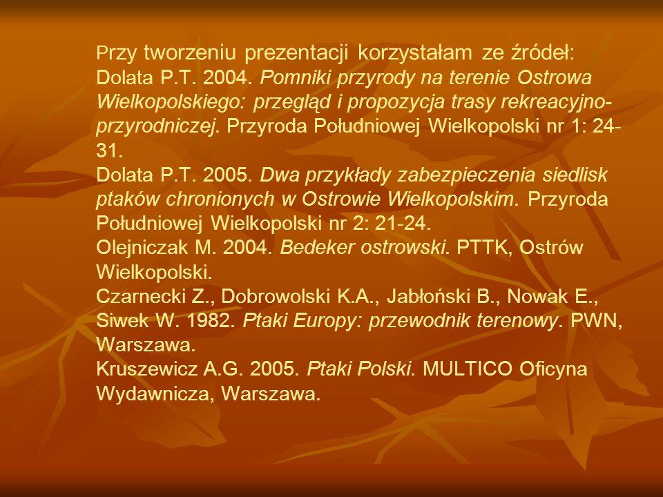 Przy tworzeniu prezentacji korzystałam ze źródeł: Dolata P. T. 2004