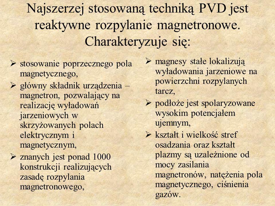 Najszerzej stosowaną techniką PVD jest reaktywne rozpylanie magnetronowe. Charakteryzuje się: