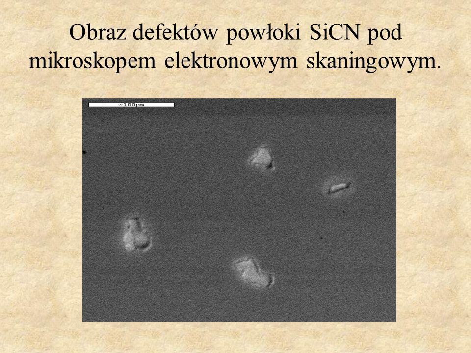 Obraz defektów powłoki SiCN pod mikroskopem elektronowym skaningowym.