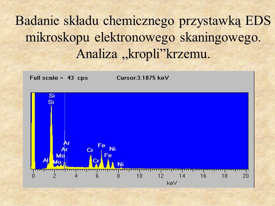 Badanie składu chemicznego przystawką EDS mikroskopu elektronowego skaningowego.