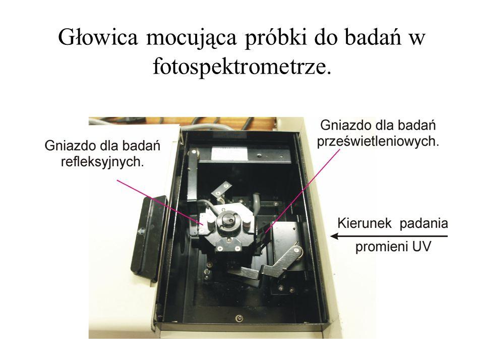 Głowica mocująca próbki do badań w fotospektrometrze.