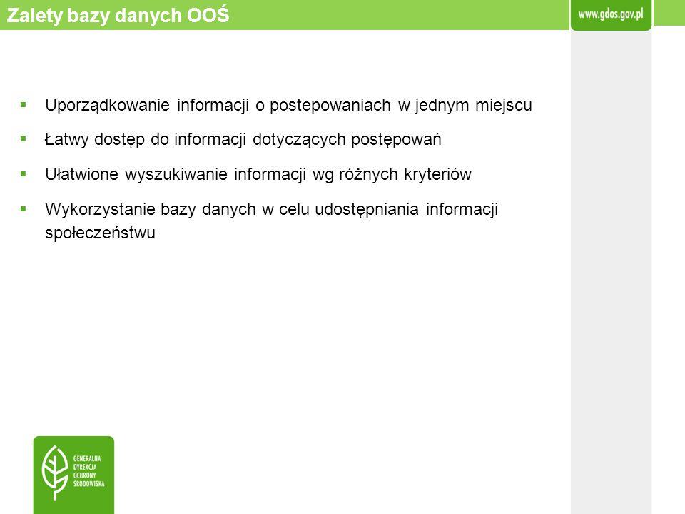 Zalety bazy danych OOŚ Uporządkowanie informacji o postepowaniach w jednym miejscu. Łatwy dostęp do informacji dotyczących postępowań.