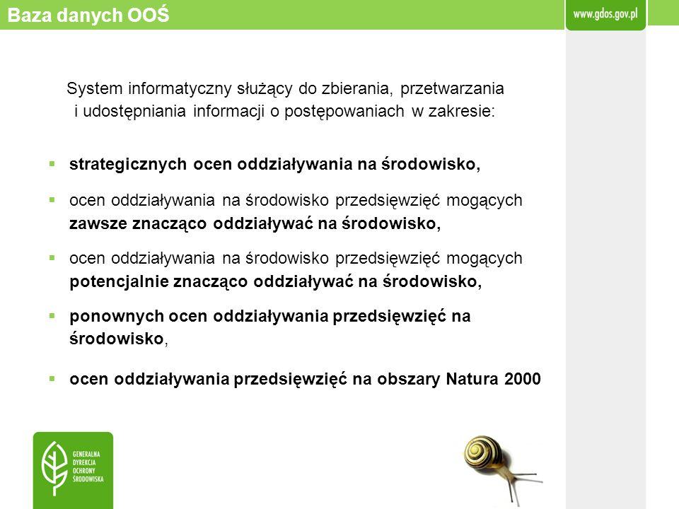 Baza danych OOŚ System informatyczny służący do zbierania, przetwarzania i udostępniania informacji o postępowaniach w zakresie: