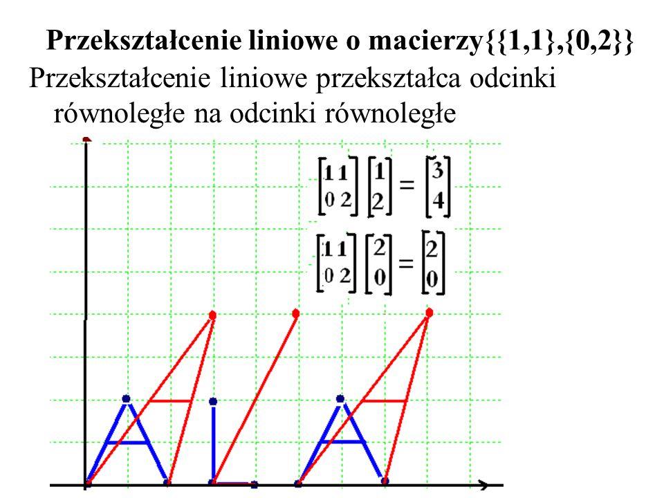 Przekształcenie liniowe o macierzy{{1,1},{0,2}}