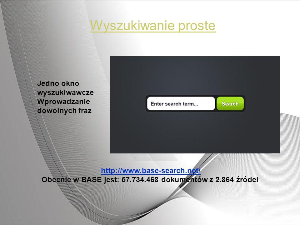 Obecnie w BASE jest: 57.734.468 dokumentów z 2.864 źródeł