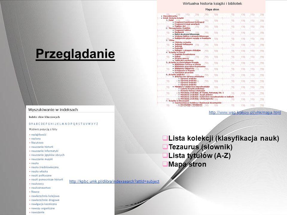 Przeglądanie Lista kolekcji (klasyfikacja nauk) Tezaurus (słownik)