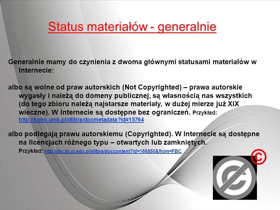 Status materiałów - generalnie