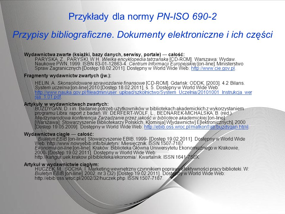 Przykłady dla normy PN-ISO 690-2 Przypisy bibliograficzne