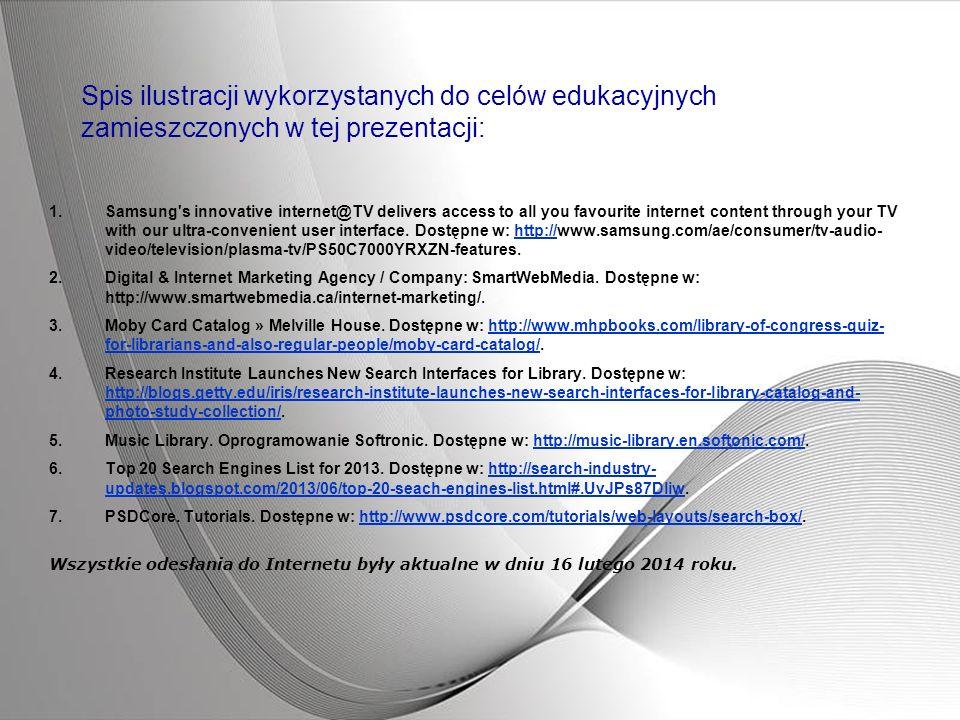 Spis ilustracji wykorzystanych do celów edukacyjnych zamieszczonych w tej prezentacji: