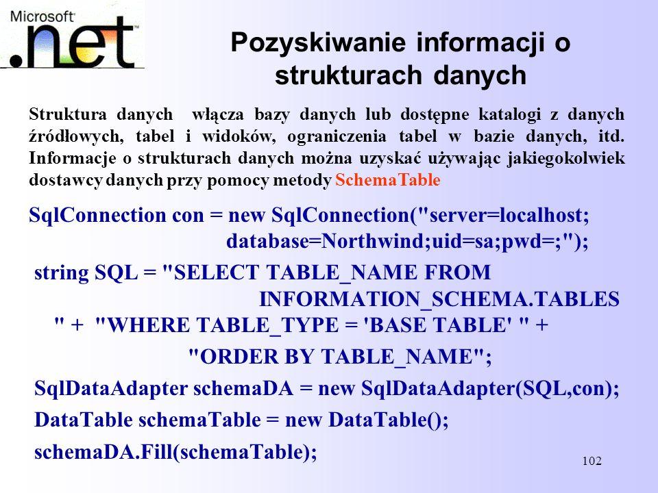 Pozyskiwanie informacji o strukturach danych
