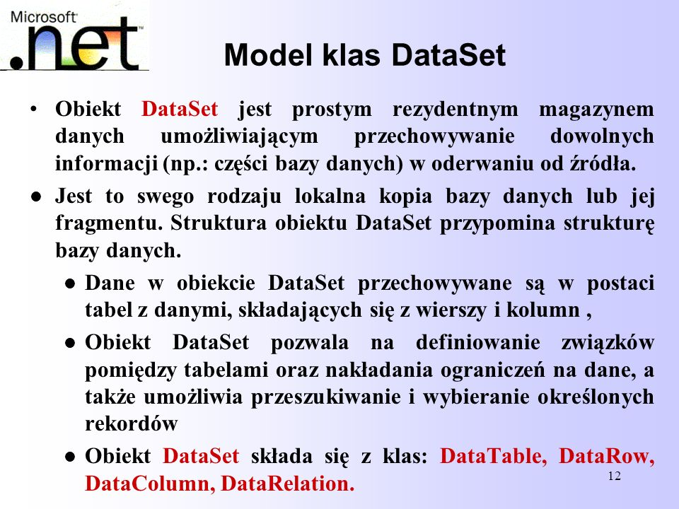 Model klas DataSet