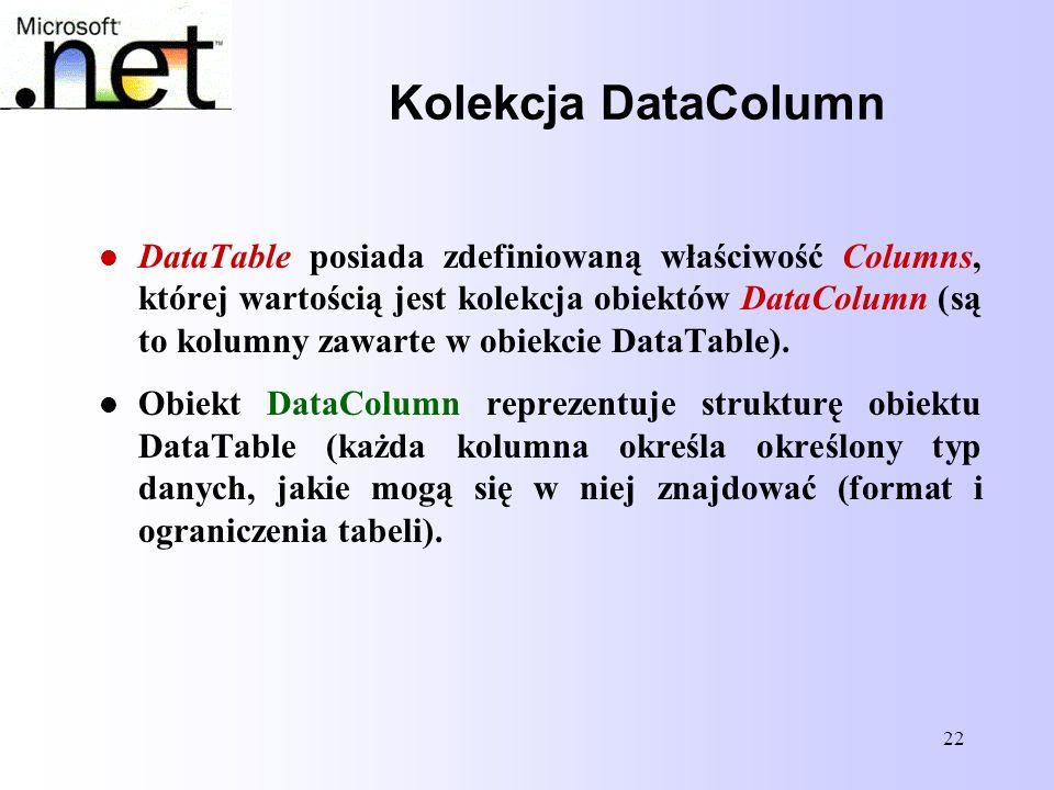 Kolekcja DataColumn