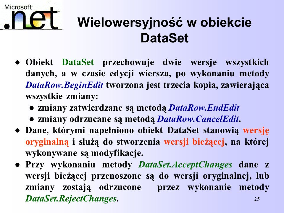 Wielowersyjność w obiekcie DataSet