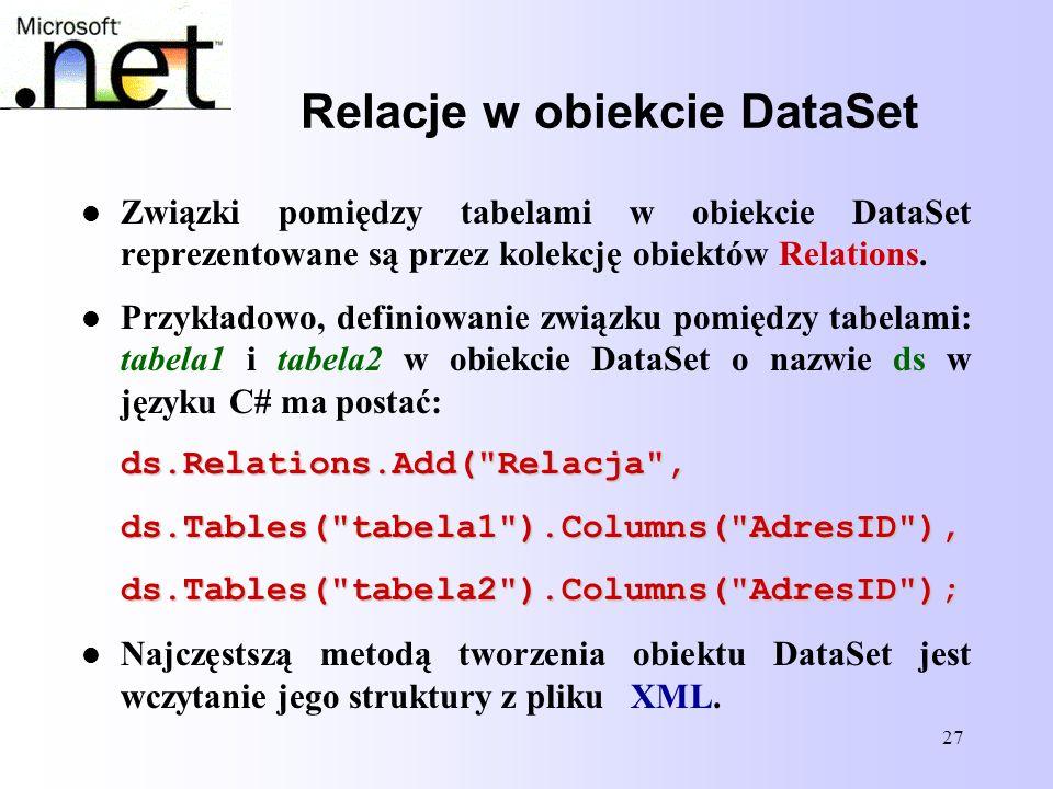 Relacje w obiekcie DataSet