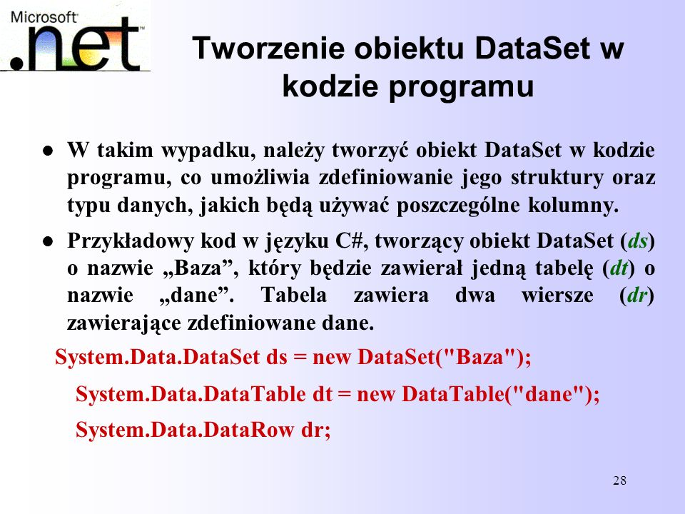 Tworzenie obiektu DataSet w kodzie programu