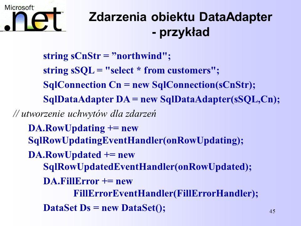 Zdarzenia obiektu DataAdapter - przykład