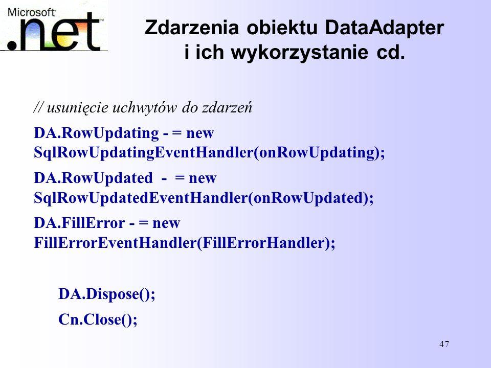 Zdarzenia obiektu DataAdapter i ich wykorzystanie cd.
