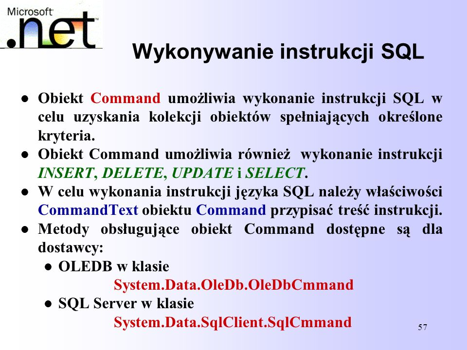Wykonywanie instrukcji SQL