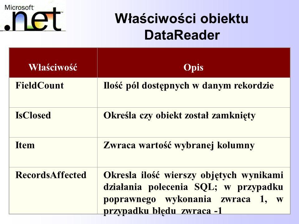 Właściwości obiektu DataReader