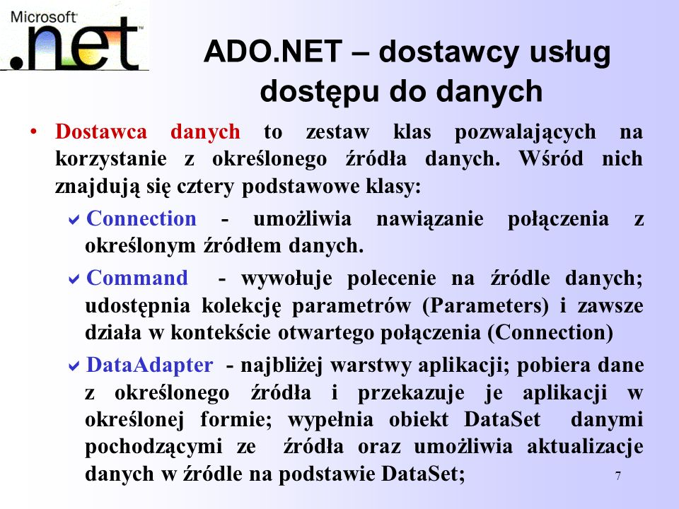 ADO.NET – dostawcy usług dostępu do danych