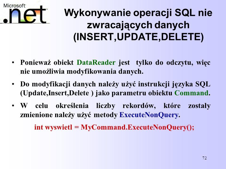 Wykonywanie operacji SQL nie zwracających danych (INSERT,UPDATE,DELETE)