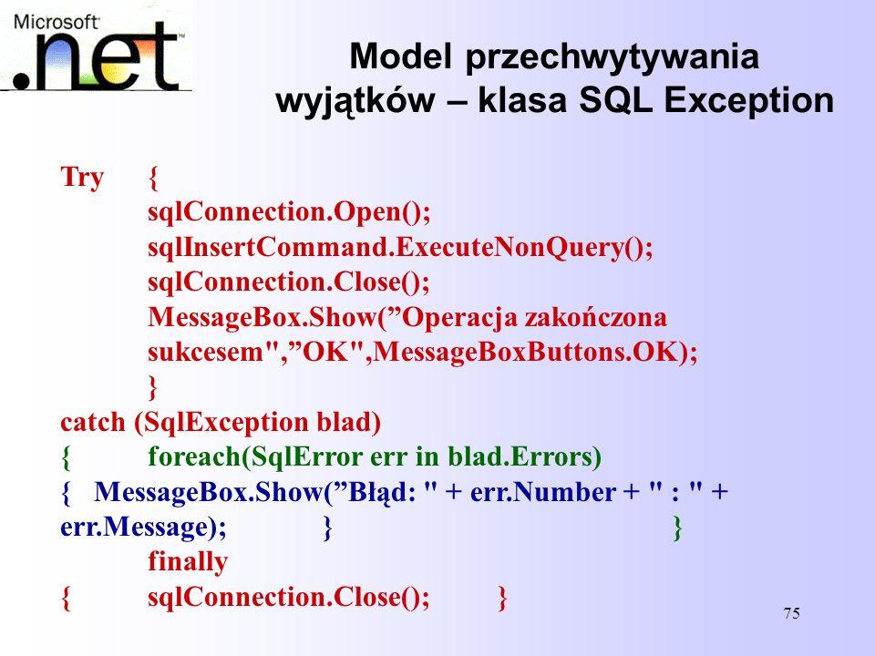 Model przechwytywania wyjątków – klasa SQL Exception