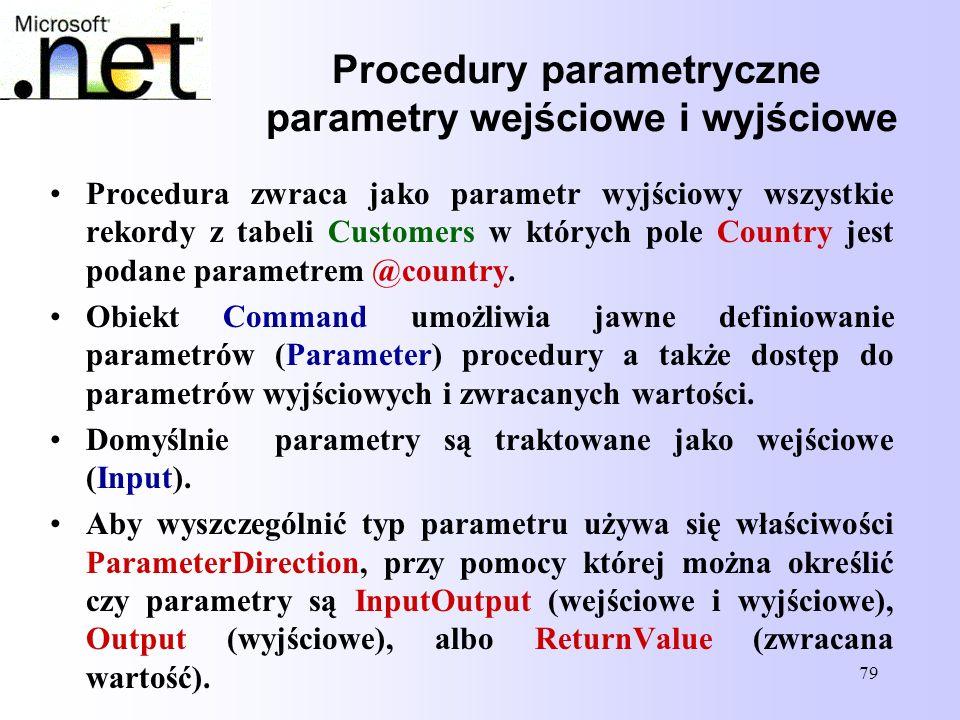 Procedury parametryczne parametry wejściowe i wyjściowe