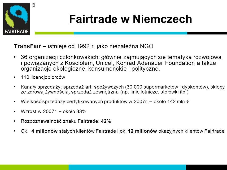 Fairtrade w Niemczech TransFair – istnieje od 1992 r. jako niezależna NGO.