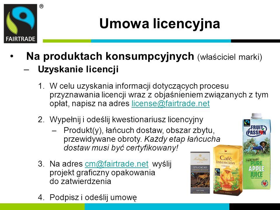 Umowa licencyjna Na produktach konsumpcyjnych (właściciel marki)
