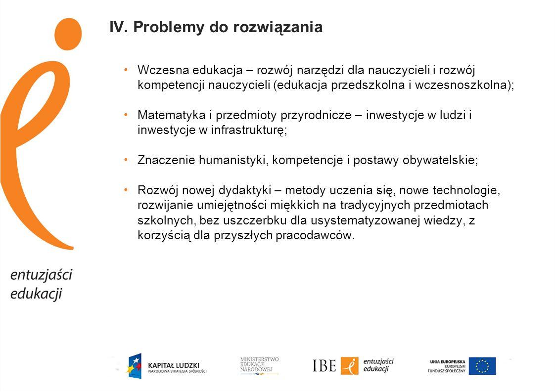 IV. Problemy do rozwiązania