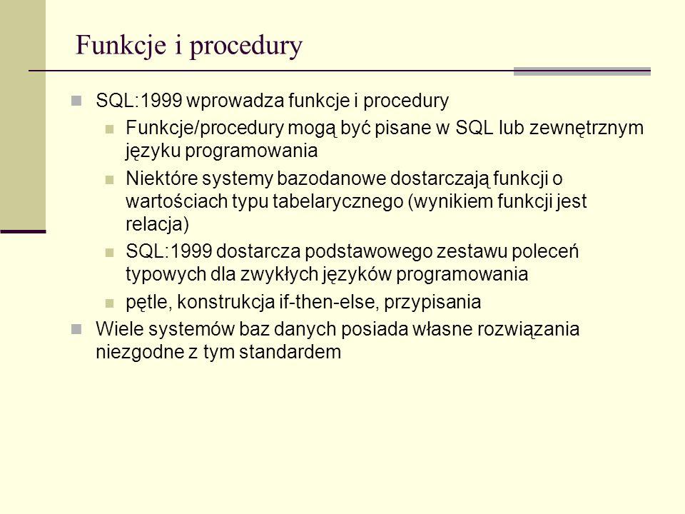 Funkcje i procedury SQL:1999 wprowadza funkcje i procedury