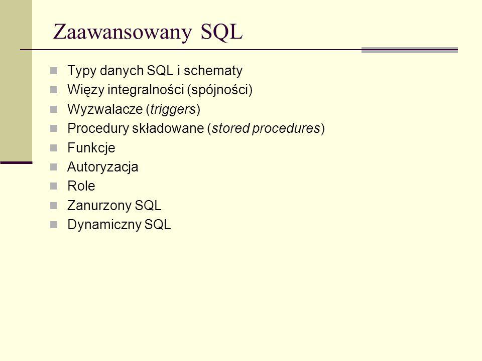 Zaawansowany SQL Typy danych SQL i schematy
