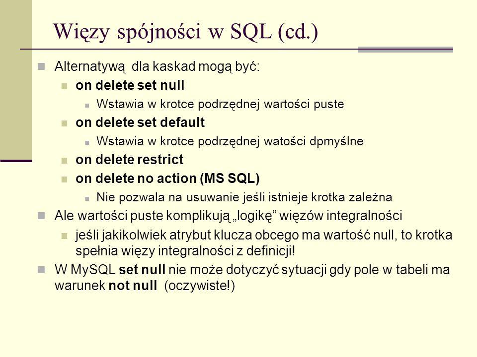Więzy spójności w SQL (cd.)