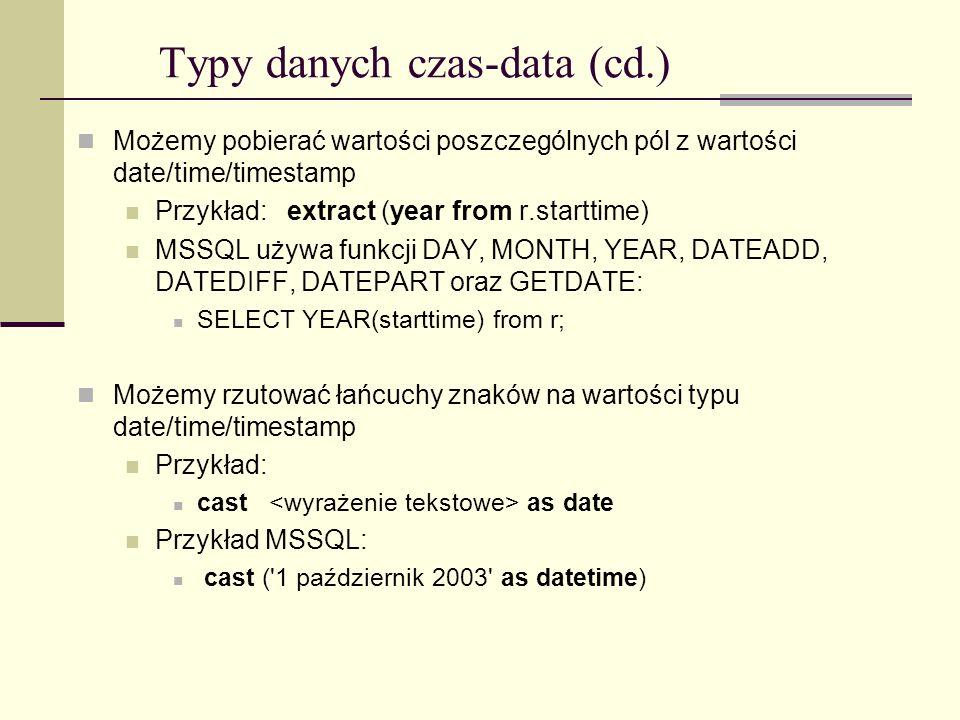 Typy danych czas-data (cd.)