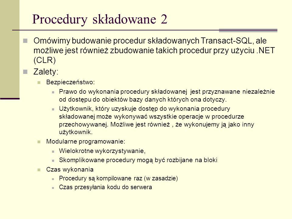 Procedury składowane 2