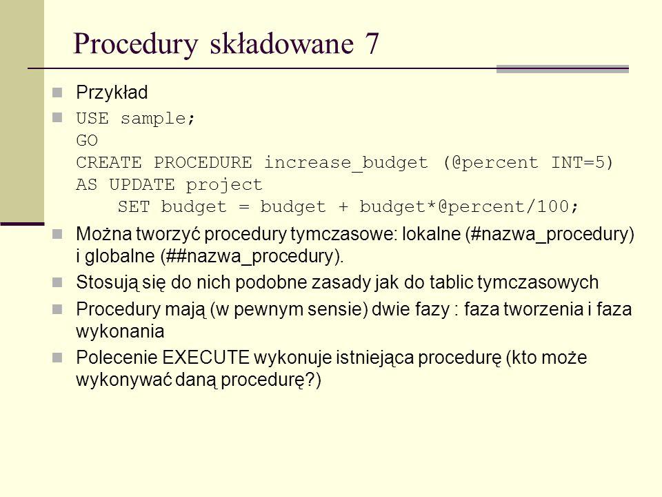 Procedury składowane 7 Przykład
