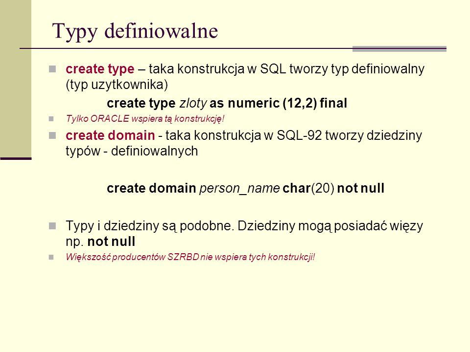 Typy definiowalne create type – taka konstrukcja w SQL tworzy typ definiowalny (typ uzytkownika) create type zloty as numeric (12,2) final.