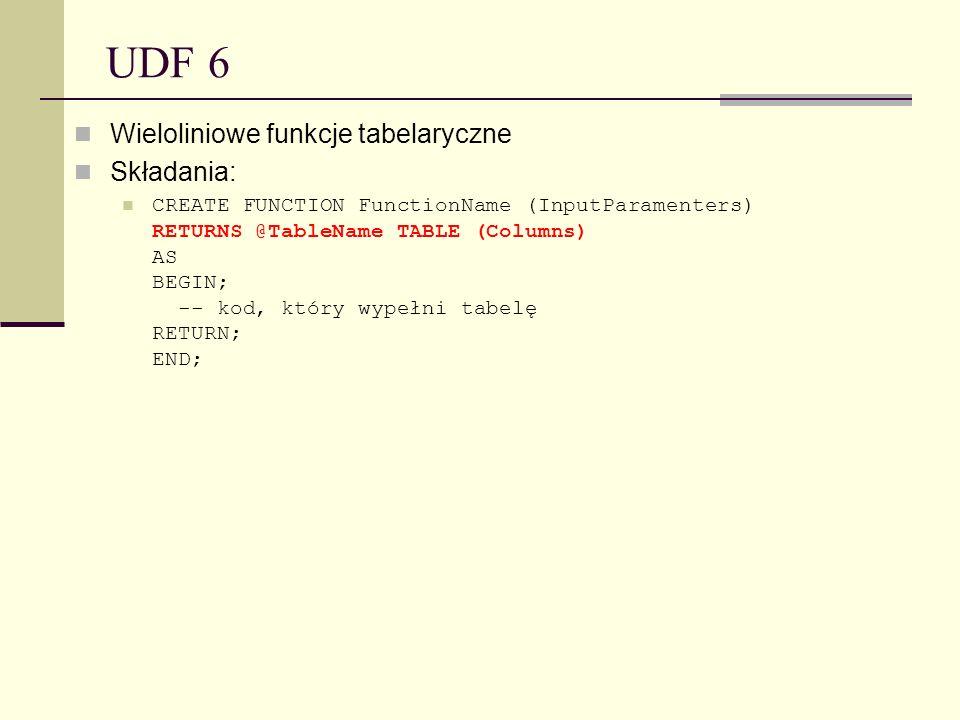 UDF 6 Wieloliniowe funkcje tabelaryczne Składania: